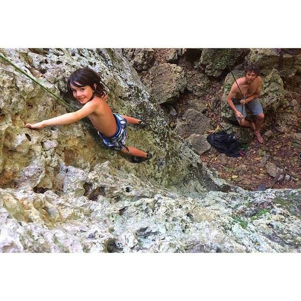 Finley Helmuth (7 yrs) pulling pockets in La Escalara sector of Monagas where there are the easiest routes at the crag.