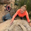 Agina Sedler as Nathan Fitzhugh and Scout watch at the Lower Exit Road Boulders.