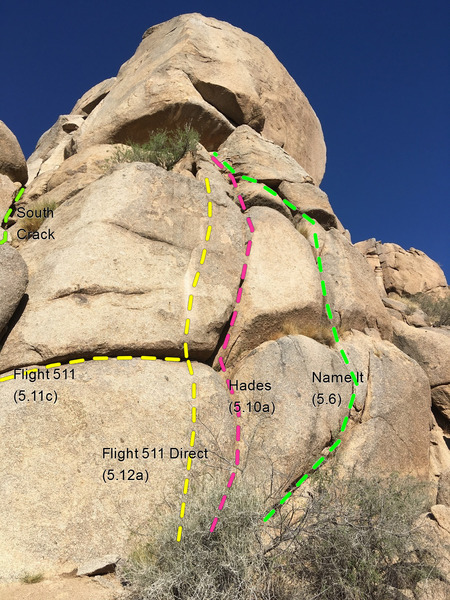 Routes just to the right of South Crack