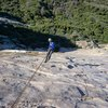 rapelling the 4th pitch. check out that rock..