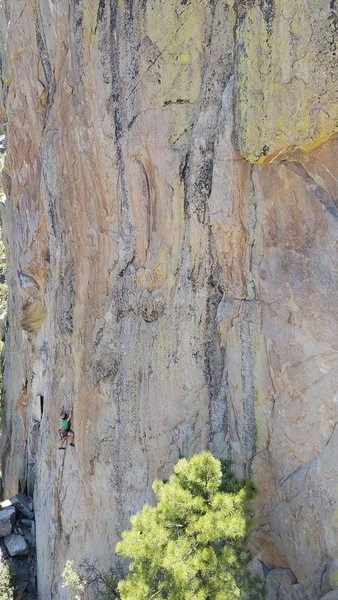 Charles Vernon on the lower part of the route where a reasonable amount of gear can be found but not many things that are absolutely bomb proof!