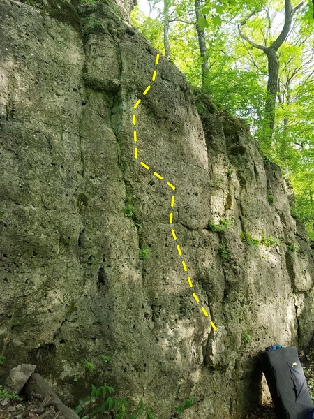 Another angle, really highlights the starting block and arete.