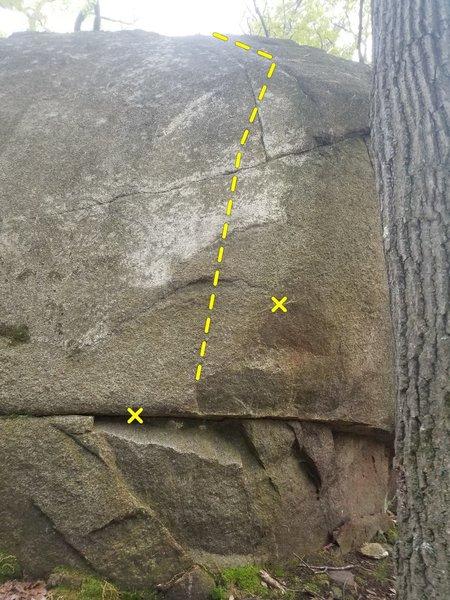 Crack and Paste on the backside of Old Pines Boulder.