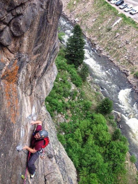 Following the traverse pitch on a perfect Clear Creek day.