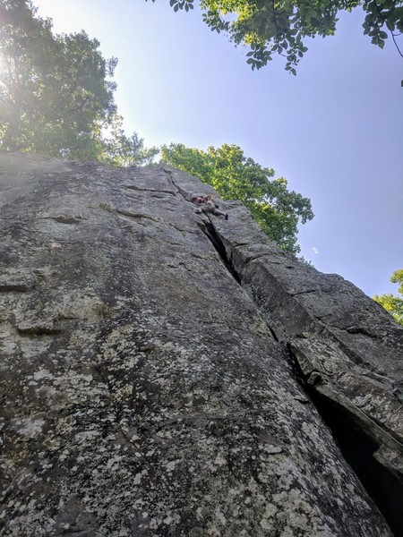 Jon cruises the upper section but is approaching the crux
