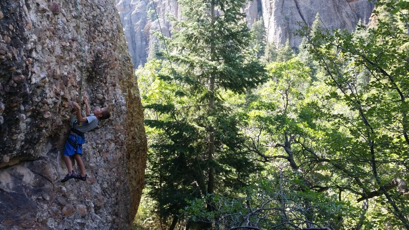 Knox enjoying a nice stance before the crux of Mr Good Jugs at the Mini Max, Maple Canyon.