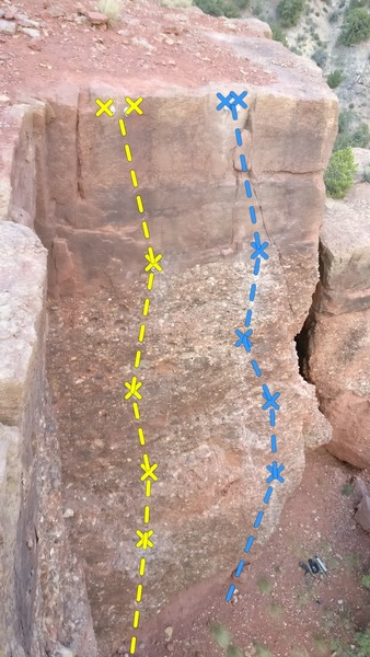 Top down view of the two new sport routes put up May 2018. Left line is Drill Dust in the Wind (5.8), while the right line is Hello Hummingbird (5.10a/b).