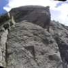 Panorama of Wall.  #4 - #11 on this wall. The arete in the middle is Cougar Bait (#6).