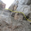 The crack leading to the roof crux with the second roof above.