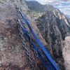 Sea of Joy rappel chains as of May 2018. It appears to be in good condition, and they extend over the edge. We rappelled with two 60m ropes.