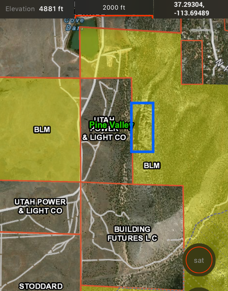 Current land ownership around Prophesy. Blue= the crag Yellow= BLM  I'm tired of the heavy-handed signage by UP&L. They do own a lot of the parking. But as you can see, there is a lot of BLM land you can totally camp on.