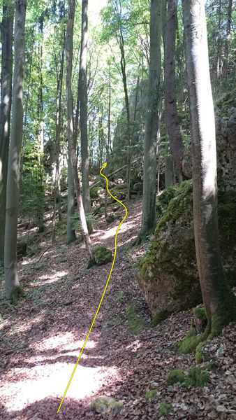 The climber's trail leads around the left side (from this perspective) of the cliff band.