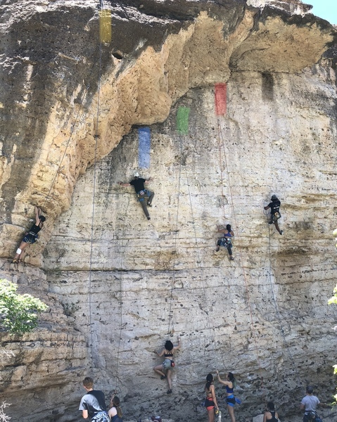 Left to right:<br> Yellow - Texas Twister 5.12a<br> Blue - Revenge of the Little Fingers 5.10b<br> Green - Terror in the trailer park 5.10d<br> Red - Gustnado - 5.11a<br> Black - Spidergrind - 5.12a