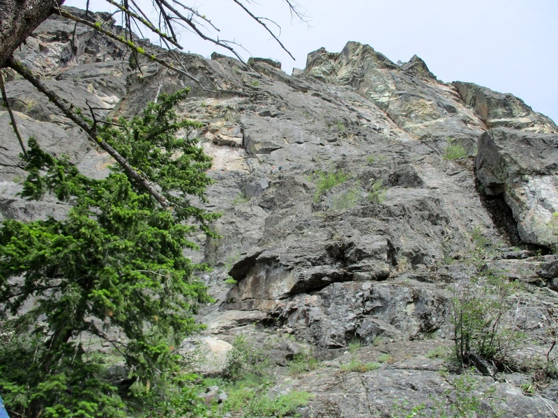 Looking up from the base of the route. Pitch 1 starts just off to the right.