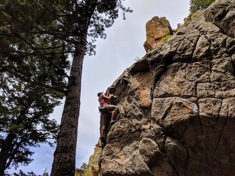 A climber on Free Fall, 05/26/2018.