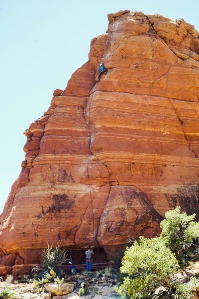 Leading past the 8th bolt on Tweaker, with Dave Spies on belay. (Photo: Giselle Fernandez)