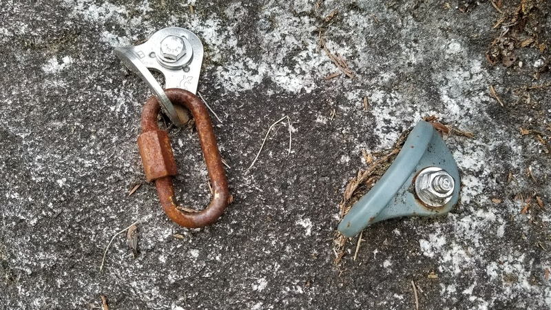 The rusted quicklink/mallion on the first anchor.