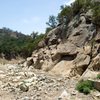 San Ysidro Canyon - May 28, 2018<br> Here's the view of the wall that contains Haunted by Water, ROI and Daddy's Girl. The creek no longer runs along the base of these routes. San Ysidro creek now runs 50 feet away, on the other side of the canyon floor.