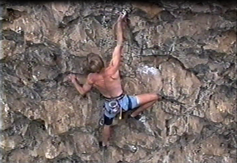 Start of the crux section of Three Strikes, Todd Graham