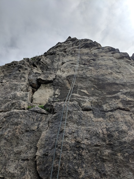 A rope set up on the tallest route at Sugar Loaf.