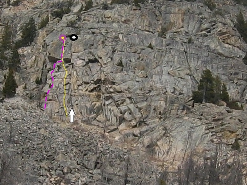Left purple route.  Start under overhang and finish up its right side.
