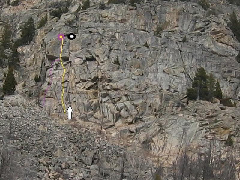 Follow top to bottom crack line, right of Ta'Tonka (Black-white arrow)