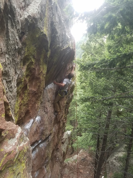 The long reach right at the high crux.