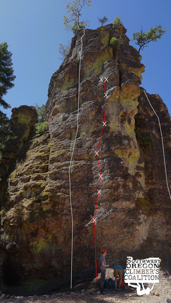 Topo of Double Jointed to TR anchor (red) in relation to other climbs on the Fire Dome (gray)