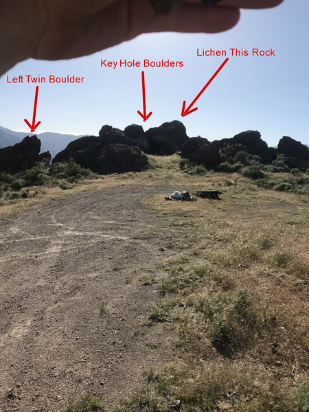 The view of the Key Hole Boulders from the plateau in the road.