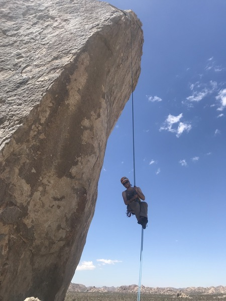 If you are not a big fan of barn-dooring while repelling, would recommend stepping off the lip close to the anchor. A misstep near the fourth bolt or later can give you a proper spook and swing.