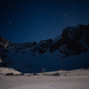 3AM alpine start approach. Palisades glacier and peaks lit by a full moon.