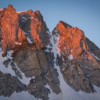 Mt Gilbert North Couloir with sunrise alpenglow