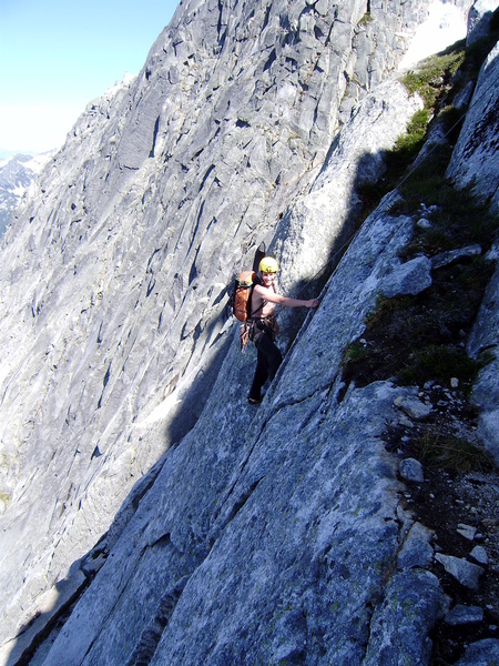 Marc-Andre simul-seconding high on the route. This was his first alpine first ascent. He went on to be one of Canada's greatest alpine climbers ever before dying in an avalanche on the Mendenhall Towers in March of 2018.