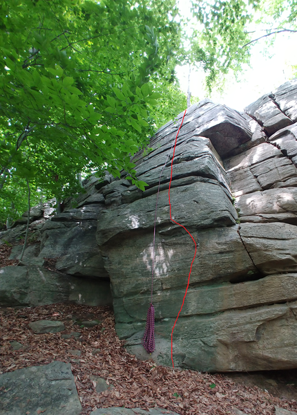 Crux is about 5 feet off the ground, 5.3 climbing the rest of the way after you're standing on the horizontal above it.