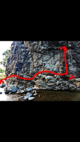 Traverse Boulder problem (starts below left x on a semi submerged rock) and either finishes on second x or free solo and top out the mega highball 5.9(or any tr route) (v4 maybe if you finish up the hardest top rope problem)