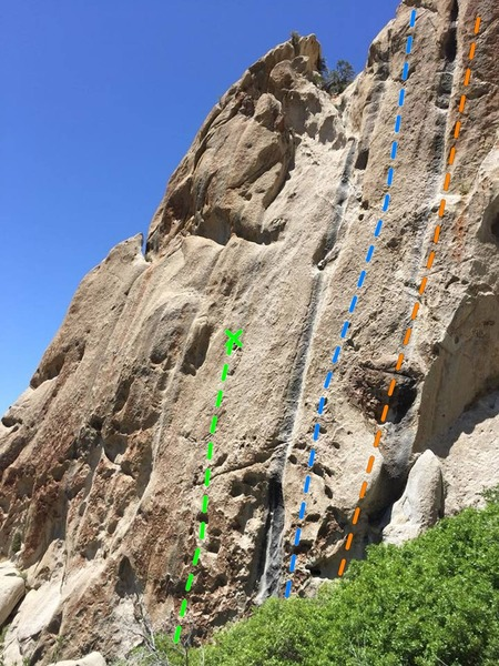 A view of some of the climbs on the Epoch wall/dome.