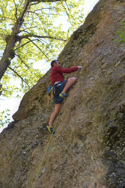Spenser leading Snizzler's so the rest of his group could enjoy this awesome climb on top rope.