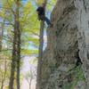 Matt enjoying an awesome Alaska day climbing Snizzler's Passage!