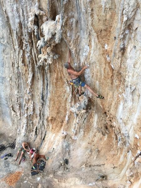 Tufa climbing between rests.