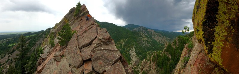 Pete Traversing the top of T1 after climbing the classic Yellow Spur on our way to the Vertigo raps.