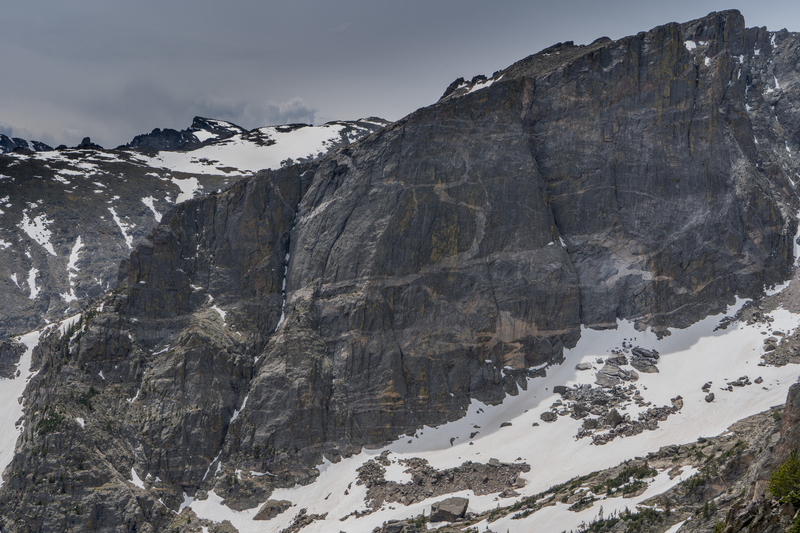The First, Second, and Third Buttresses of Hallett Face from left to right.<br> <br> Taken (6/3/18) from Emerald Lake overlook (Flat Top Trail) or just down the trail a switchback or two.