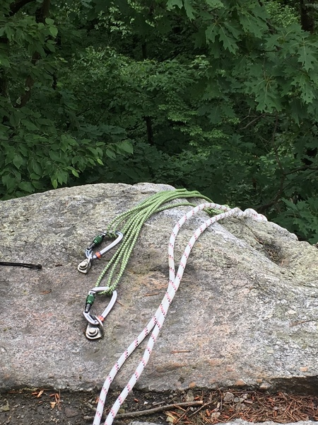 "Example TR Anchor above Beginner's Crack. Quad with 30' 6mm cordelette. Master point backed up with 50' static line to 18"" tree 30' from edge of cliff."