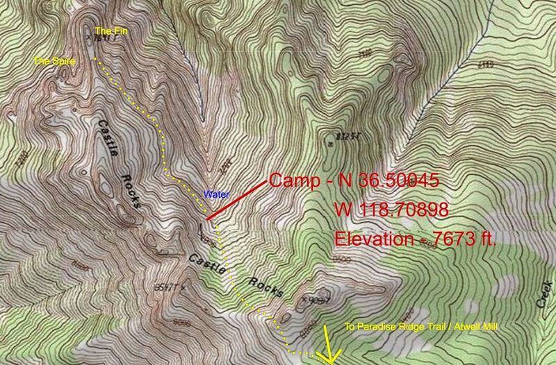 A little more detailed map of the upper approach. GPS coordinates for the good campsite included. If the coord. aren't exact, they're close enough. There's only one flat spot in the enitre area