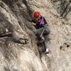 Climber near the start of Low Hanging Fruit.