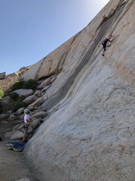 The move just after clipping the first bolt, Agina Sedler on lead. Nathan Fitzhugh on belay.