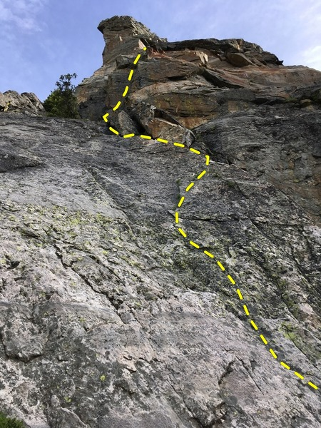 P1.  We climbed the first right-leaning, left-facing corner system at 5.8/5.9ish
