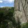 Climber at P1 belay.