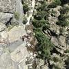 Evan at belay top of P3.
