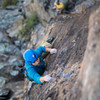 Trevor Bowman enjoying the bullet stone on his route Bucking the Sun.