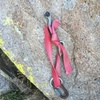 The first bolted anchor encountered, about 70m off the ground. We had already built a gear belay just below this.